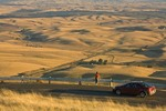 Woman stops to enjoy views the Palouse Hills an agricultural landscape of drifted loess soils from road at top of Steptoe Butte, north of Colfax in Eastern Washington, _MG_37265, AGPix_1485