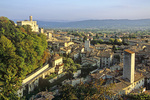 Ancient town of Gubbio with tower and Palazzo Dei Consoli upper left, Gubbio, Umbria, Italy, IT_2948, AGPix_1497