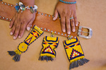 Artisans hands with her Apache leatherwork, at San Carlos, San Carlos Indian Reservation, Arizona, _MG_38074,AGPix_1501