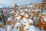 Fresh snow on Bryce Canyon wall, below Sunset Point area of Bryce Canyon National Park, Utah, UT_03205, AGPix_1524