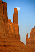Full moon rises behind Mitten Buttes in Monument Valley Navajo Tribal Park, Arizona, AZ_10715, AGPix_1541