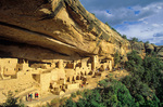 Cliff Palace with visitors, ruins of an ancient puebloan Indian village at Mesa Verde National Park, Colorado, CO_04143, AGPix_1544