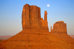 Full moon rises behind Mitten Buttes in Monument Valley Navajo Tribal Park, Arizona, AGPix_1581, AZ_10743