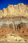 Colorful Canyon walls of different sedimentary rocks near Grand Wash in Capitol Reef National Park, Utah, AGPix_1589, UT_03487