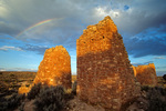 Rainbow over ruins of Hovenweep Castle an ancient puebloan indian site, circa 1200 AD, Hovenweep National Monument, UT_06141, AGPix_1614