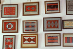 Paintings of rug designs Inside the rug room at Hubbell Trading Post National Historic Site, Navajo Indian Reservation, Ganado, Arizona, AZ_04583, AGPix_1635