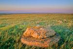 Glacial erratic boulder amid mixedgrass prairie, sunset at Grassland National Park, West Block, near Val Marie, Saskatchewan, Canada, SK_10205, AGPix_1645