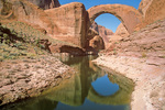 Rainbow Bridge with Lake Powell at high water, Glen Canyon National Recreation Area, Utah, UT_02771, AGPix_1647