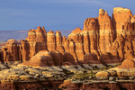 Sandstone pinnacles at sunset with La Sal Mountains in background, view from Chesler Park at Canyonlands National Park, Utah, AGPix_1652