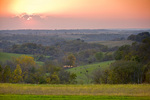 Sunset over rural Iowa landscape of pasture, cattle and woodlands north of Waukon, Iowa, _MG_23237, AGPix_1687