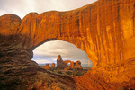Turret Arch  with rainbow viewed through North Window at Arches National Park near Moab, Utah, AGPix_1723