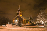 Our Lady of Guadalupe Catholic Church on snowy evening, in historic southside area of Flagstaff, Arizona, AGPix_1726