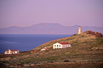 Lighthouse at twilight on East Anacapa Island, view to mainland, Channel Islands National Park, California, AGPix_1730