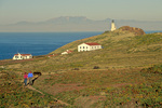 Hikers on trail on East Anacapa Island, Channel Islands National Park, California, AGPix_1732