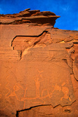 Ancient Indian petroglyphs on rock above Little Colorado River, near Box Springs, Navajo Nation, Arizona, AGPix_1756