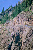 Highway 550 the Million Dollar Highway, cuts through rocky cliff of way to Red Mountain Pass, San Juan Skyway, just outside of Ouray, Colorado, AGPix_1758