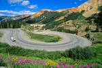 Hairpin turns on Highway 550 at Red Mountain Pass in the San Juan Mountains, part of Million Dollar Highway between Ouray and Silverton, Colorado, AGPix_1761