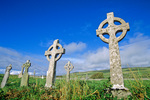 Celtic crosses in cemetery at ruined church near Fanore in County Clare, Ireland, AGPix_1765
