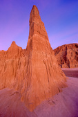 Cathedral Gorge State Park, sunset light on eroded spires, near Panaca in eastern part of Nevada, USA, AGPix_1768