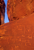 Indian petroglyphs at Atlatl Rock, Valley of Fire State Park, native american rock carving on colorful Aztec sandstone, northeast of Las Vegas, Nevada, USA, AGPix_1773