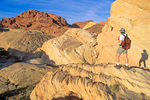 Hiker at Valley of Fire State Park, wilderness of multicolored sandstone, northeast of Las Vegas, Nevada, USA, AGPix_1775