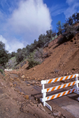 Landslide blocks road with rock debris, Road G16 near Carmel Valley, California, USA, AGPix_1792