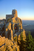 Hiker at Harney Peak Lookout, sunrise at highest point in state, Black Hills National Forest, South Dakota, USA, SD_00418