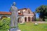 Statue of Fray Junipero Serra, Founder of Mission San Antonio De Padua, outside this historic California mission, south of King City, California, USA, AGPix_1823