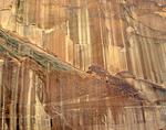 Desert varnish streaks sandstone cliff walls above Escalante River, Grand Staircase-Escalante National Monument, near Boulder, Utah, USA AGPix_1825