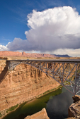 New Navajo Bridge over the Colorado River on Highway 89A, at Marble Canyon, Echo Cliffs in background, view from Glen Canyon National Recreation Area, Arizona, AGPix_1853