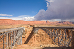 Navajo Bridges over the Colorado River on Highway 89A, old one on Left, at Marble Canyon, Echo Cliffs in distance, view at Glen Canyon National Recreation Area, Arizona, AGPix_1854