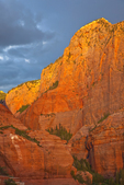 Sunset light on sandstone walls in Kolob Canyons area of Zion National Park, Utah, AGPix_1863