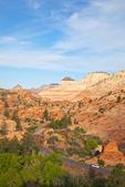 Driving amid the slickrock of Navajo Sandstone, on Zion-Mt. Carmel Highway, near East Entrance of Zion National Park, Utah, AGPix_1868