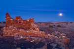 Lomaki Ruin with winter moonrise, site of ancient Indian pueblo at Wupatki National Monument, Arizona, USA AGPix_1879
