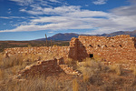 Reconstructed Puebloan village with Abajo Mountains in background at Edge of the Cedars State Park, Blanding, Utah, AGPix_1913