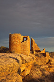 Hovenweep Castle along Little Ruin Canyon Trail, sunset, at Hovenweep National Monument, Utah, AGPix_1914