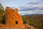 Ancient Puebloan tower at Painted Hand Pueblo in Canyons of the Ancients National Monument, Sleeping Ute Mountain in background, west of Cortez, Colorado, USA, AGPix_1921