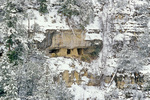Snowy winter view of cliff dwelling ruin on far side of canyon, view from Island Trail at Walnut Canyon National Monument, Flagstaff, Arizona, AGPix_1942