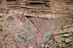 Great Unconformity, contact between Vishnu Schist below and sedimentary layers of Tapeats Sandstone above, Grand Canyon National Park, Arizona, AGPix_1945