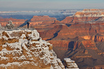 Photographer on canyon rim, winter view at Mather Point, South Rim of Grand Canyon National Park, Arizona, USA, AGPix_1988