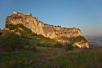 The Fortress, a castle on rocky crag, at sunrise at village of San Leo, Emilia-Romagna, Italy, AGPix_1992