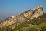 San Leo, a medieval village with castle, built on rocky crag, Emilia-Romagna, Italy, AGPix_1993