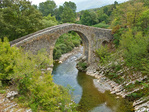 Medieval bridge, Ponte Medievale, on Calore River near village of Felitto in Cilento National Park, near village of Felitto, in province of Salerno in region of Campania, Southern Italy, AGPix_1996 
