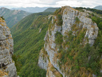Limestone cliffs, Alburni Escarpment, along trail at 'Il Figliolo in Alburni mountains above village of Petina, in Cilento National Park, province of Salerno, region of Campania, Southern Italy, AGPix_1998 