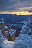 Winter view at sunrise, Mather Point area on South Rim of Grand Canyon National Park, Arizona, USA, AGPix_2008