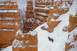 Winter hiking party on Navajo Loop Trail below Sunset Point, Bryce Canyon National Park, Utah, AGPix_2025