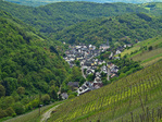 Village of Oberdiebach among the vineyards along the Rhine Castles Way Trail on west bank of the Rhine, upstream of Bacharach, Upper Middle Rhine Valley World Heritage Site, Germany, AGPix_2026