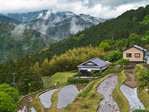 Village of Takahara with houses and rice paddies, in the Kii Mountain Range, along route of Kumano Kodo Pilgrimage Trail, Nakahechi Route, a UNESCO World Heritage site, on the Kii Peninsula, Wakayama Prefecture, Japan, AGPix_2037