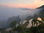 Foggy morning at village of Takahara in the Kii Mountain Range, along route of Kumano Kodo Pilgrimage Trail, Nakahechi Route, a UNESCO World Heritage site, on the Kii Peninsula, Wakayama Prefecture, Japan, AGPix_2039