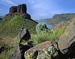Two Sisters Rock & Columbia River near Wallula, Washington.